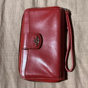 Authentic red leather Coach wristlet!